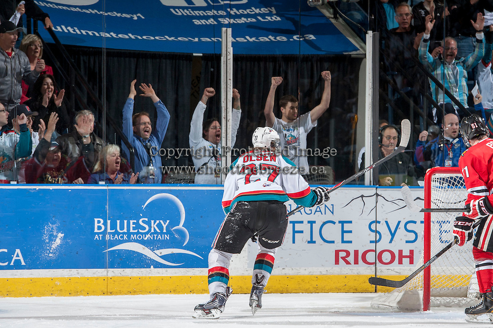 KELOWNA, CANADA - APRIL 19: Fans celebrate a goal for the # of the Kelowna Rockets against the Portland Winterhawks on April 18, 2014 during Game 2 of the third round of WHL Playoffs at Prospera Place in Kelowna, British Columbia, Canada.   (Photo by Marissa Baecker/Shoot the Breeze)  *** Local Caption *** Fans;