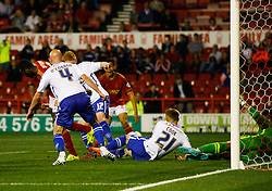 Michail Antonio of Nottingham Forest (L) scores his sides third goal - Mandatory byline: Jack Phillips / JMP - 07966386802 - 11/08/15 - FOOTBALL - The City Ground - Nottingham, Nottinghamshire - Nottingham Forest v Walsall - Football League Cup Round 1
