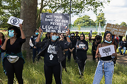 Local people take part in a peaceful protest in solidarity with the Black Lives Matter movement on 13th June 2020 in Salt Hill Park in Slough, United Kingdom. Protests in solidarity with the Black Lives Matter movement have taken place across the United States and in many countries around the world.
