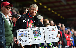 Bournemouth fan Holds up a Justice for Mings banner after he received a 5 game ban.  - Mandatory by-line: Alex James/JMP - 11/03/2017 - FOOTBALL - Vitality Stadium - Bournemouth, England - Bournemouth v West Ham United - Premier League