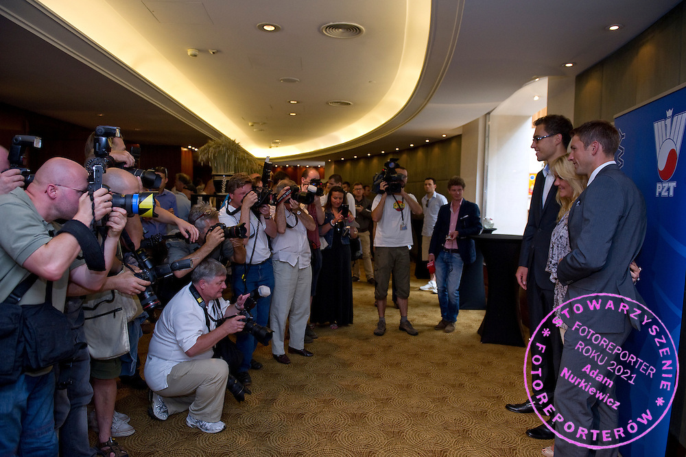 Photographers and Jerzy Janowicz and Agnieszka Radwanska and Lukasz Kubot after press conference of Polish Tennis Association at Hyatt Hotel in Warsaw, Poland.<br /> <br /> Poland, Warsaw, July 08, 2013<br /> <br /> Picture also available in RAW (NEF) or TIFF format on special request.<br /> <br /> For editorial use only. Any commercial or promotional use requires permission.<br /> <br /> Photo by &copy; Adam Nurkiewicz / Mediasport