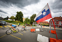 Matej Drinovec of Slovenija National Team and Jan Cully of Dukla Banska Bystrica during 2nd Stage of 25th Tour de Slovenie 2018 cycling race between Maribor and Rogaska Slatina (152,7 km), on June 14, 2018 in  Slovenia. Photo by Vid Ponikvar / Sportida