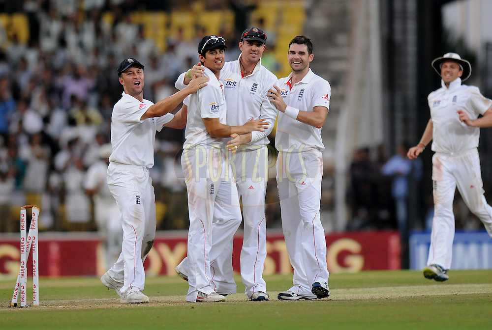 Alastair Cook captain of England celebrates the wicket of MS Dhoni captain of India after getting him run out during day three of the 4th Airtel Test Match between India and England held at VCA ground in Nagpur on the 15th December 2012..Photo by  Pal Pillai/BCCI/SPORTZPICS .