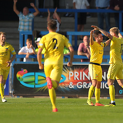 TELFORD COPYRIGHT MIKE SHERIDAN GOAL. Caspar Hughes celebrates after scoring to make it 3-0 during the National League North fixture between AFC Telford United and Nantwich Town on Saturday, September 21, 2019.<br /> <br /> Picture credit: Mike Sheridan<br /> <br /> MS201920-020
