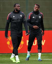 Romelu Lukaku and Paul Pogba of Manchester United - Mandatory by-line: Matt McNulty/JMP - 11/09/2017 - FOOTBALL - AON Training Complex - Manchester, England - Manchester United v FC Basel - Press Conference & Training - UEFA Champions League - Group A