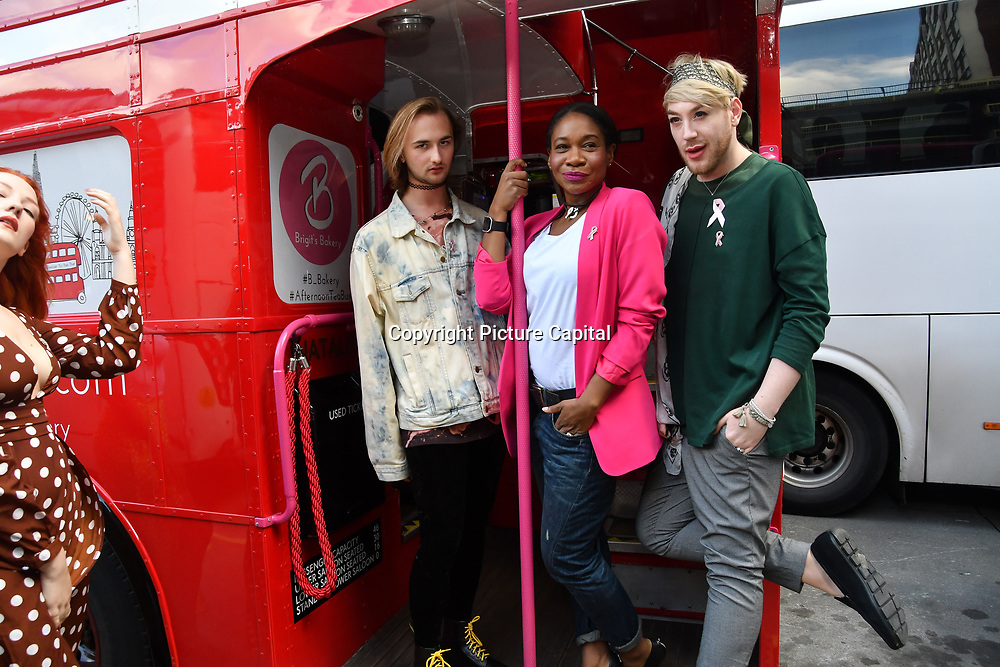 Robert, Karen Bryson and Lewis-Duncan Weedon attends Brigits Bakery host their Pink Ribbon Afternoon Tea in aid of the Pink Ribbon Foundation, London, UK. 16 October 2018.