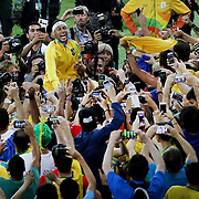 Football - Olympics: Day 15  Neymar #10 of Brazil with supporters in the crowd after Brazil won a penalty shoot out during the Brazil Vs Germany Men's Football Gold Medal Match at Maracana on August 20, 2016 in Rio de Janeiro, Brazil. (Photo by Tim Clayton/Corbis via Getty Images)