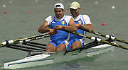2003 - FISA World Cup Rowing Milan Italy.30/05/2003  - Photo Peter Spurrier.ITA M2X [S] Leonardo Pettinari and [B] Elia Luini move away from the start  in the first heat of the Lightweight men's double sculls, on the opening day of the first round of the FISA World cup  held on the Idroscala rowing course - Milan - Italy. [Mandatory Credit: Peter Spurrier:Intersport Images]
