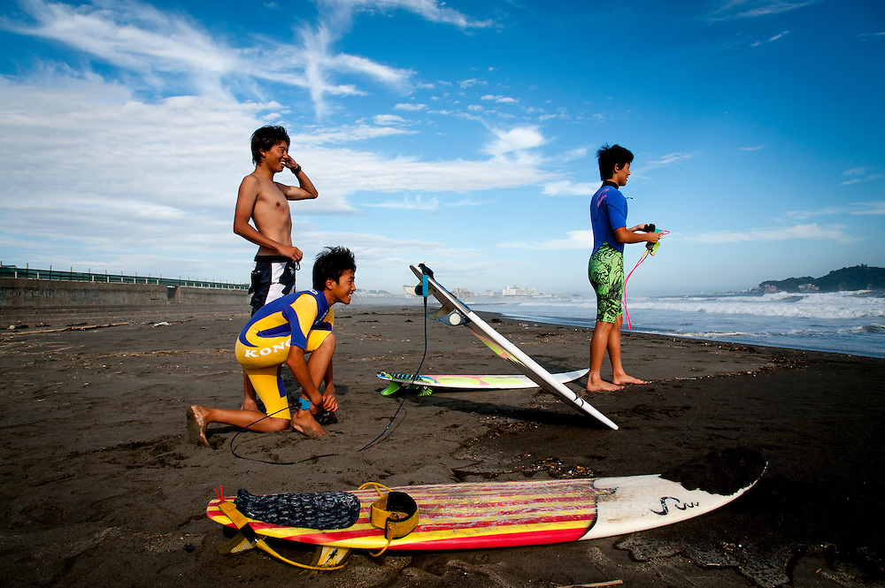 Shonan Beach in Fujisawa, Kanagawa Prefecture, 50 kilometers south of Tokyo.