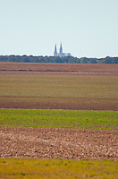 Our Lady of Chartres Cathedral, Chartres, France. Distant view of the cathedral from far away across the fields.