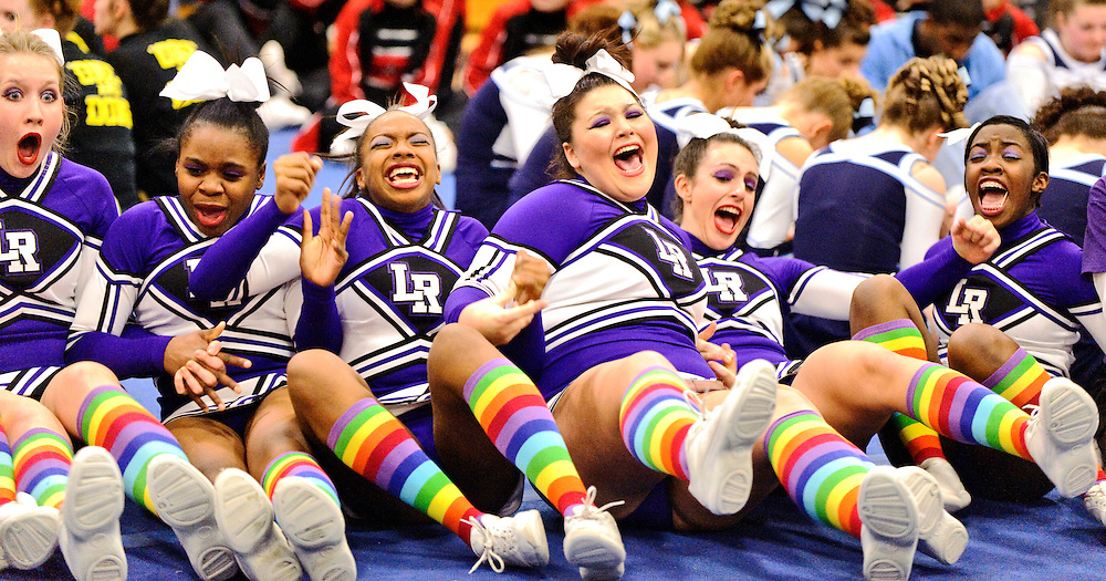 (staff photo by Matt Roth)..Long Reach Cheerleaders (L-R) Julia Dembowski, Ore Oluseye, Jazmyn Cdogan, Danielle Pecoraro, Zoe Morris, and Jenelle Williams react after placing second in the regional cheerleading competition held at River Hill High School Thursday, February 25, 2010. Long Reach, who placed third in the county meet, will be the lone Howard County squad in the State Championships this weekend..