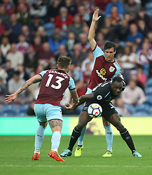 Michail Antonio of West Ham United (R) and Jack Cork of Burnley (C) in action - Mandatory by-line: Jack Phillips/JMP - 14/10/2017 - FOOTBALL - Turf Moor - Burnley, England - Burnley v West Ham United - English Premier League