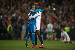 February 28, 2019 - Valencia, Valencia, Spain - Mouctar Diakhaby and Jaume Domenech of Valencia celebrates victory after the Copa del Rey Semi Final match second leg between Valencia CF and Real Betis Balompie at Mestalla Stadium in Valencia, Spain on February 28, 2019. (Credit Image: © Jose Breton/NurPhoto via ZUMA Press)
