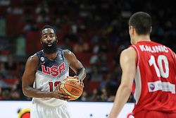 James Harden of USA in action during the 2014 FIBA World Basketball Championship Final match between USA and Serbia at the Palacio de los Deportes, on September 14, 2014 in Madrid, Spain. Photo by Tom Luksys  / Sportida.com <br /> ONLY FOR Slovenia, France