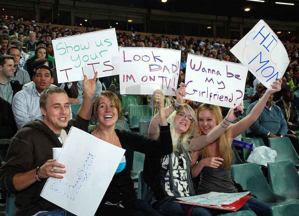 JOHANNESBURG, SOUTH AFRICA - 19 May 2009. fans during the  IPL Season 2 match between the Delhi Daredevils and the Royal Challengers Bangalore held at The Wanderers Stadium in Johannesburg, South Africa..