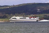HSS Stena Line, Belfast-Stranraer, car and passenger, ferry, in Belfast Lough, N Ireland, UK, 2001041556..Copyright Image from Victor Patterson, 54 Dorchester Park, Belfast, UK, BT9 6RJ..Tel: +44 28 9066 1296.Mob: +44 7802 353836.Voicemail +44 20 8816 7153.Skype: victorpattersonbelfast.Email: victorpatterson@mac.com.Email: victorpatterson@ireland.com (back-up)..IMPORTANT: If you wish to use this image or any other of my images please go to www.victorpatterson.com and click on the Terms & Conditions. Then contact me by email or phone with the reference number(s) of the image(s) concerned.