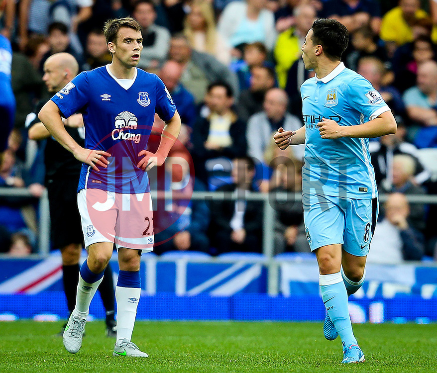 Samir Nasri of Manchester City taunts Everton's Seamus Coleman after scoring the second goal  - Mandatory byline: Matt McNulty/JMP - 07966386802 - 23/08/2015 - FOOTBALL - Goodison Park -Everton,England - Everton v Manchester City - Barclays Premier League