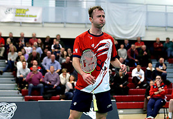 Alex Lane of Bristol Jets looks frustrated during his singles match against the Surrey Smashers - Photo mandatory by-line: Robbie Stephenson/JMP - 06/02/2017 - BADMINTON - SGS Wise Arena - Bristol, England - Bristol Jets v Surrey Smashers - AJ Bell National Badminton League
