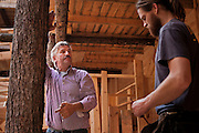 Johan Huibers is instructing one of his workers. // .A full-sized replica of the biblical Noah's Ark has been built by a Dutch man, complete with model animals, and a four story theatre..Dutch creationist Johan Huibers built the ark as testament to his literal belief in the Bible. After three years of building the Ark should be finished in July. He expects to get around 400.000 visitors a year. // Michel de Groot for The New York Times