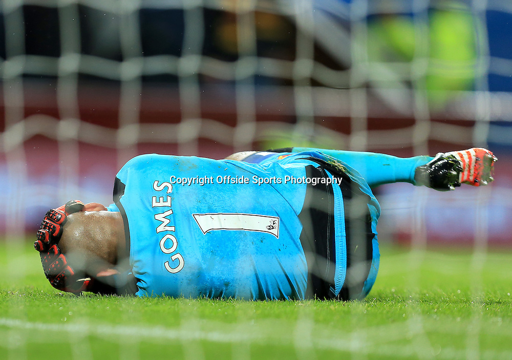 28th November 2015 - Barclays Premier League - Aston Villa v Watford -     Heurelho Gomes of Watford collapses after a head injury in the second half - Photo: Paul Roberts / Offside.