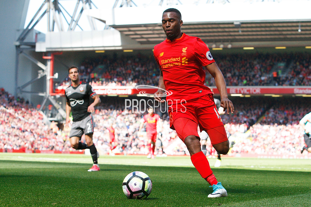 Daniel Sturridge (15) charges in on goal for Liverpool during the Premier League match between Liverpool and Southampton at Anfield, Liverpool, England on 7 May 2017. Photo by Craig Galloway.
