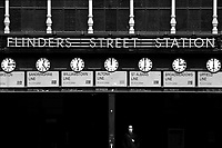 An empty Flinders Street Station is seen in Melbourne, April 11, 2020. Victoria's stage three social distancing laws came with a ban on all but the most basic outdoor activities. (AAP Image/Michael Dodge) NO ARCHIVING