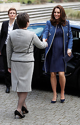 The Duchess of Cambridge is met by President Lesley Regan, as she arrives to visit to the Royal College of Obstetricians and Gynaecologists in London.