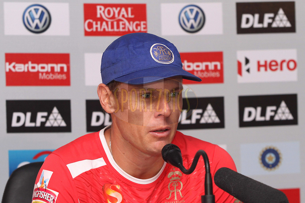 Johan Botha of the Rajasthan Royals during the post match press conference after match 56 of the the Indian Premier League (IPL) 2012  between The Rajasthan Royals and the Chennai SUperkings held at the Sawai Mansingh Stadium in Jaipur on the 10th May 2012..Photo by Shaun Roy/IPL/SPORTZPICS