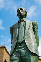 Statue of Donald Dewar outside Royal Concert Hall in Glasgow United Kingdom