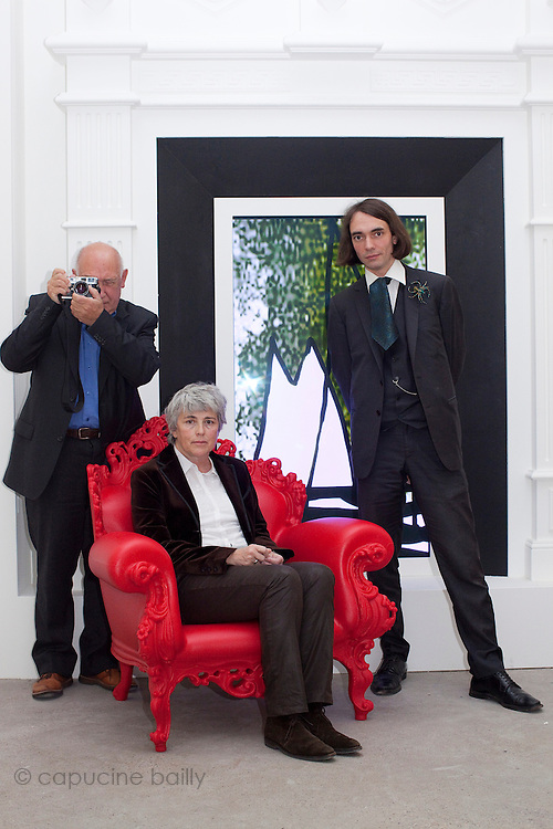 Fondation Cartier. Paris, France. October 18th 2011..From left to right : Raymond Depardon, Claudine Nougaret, Cedric Villani