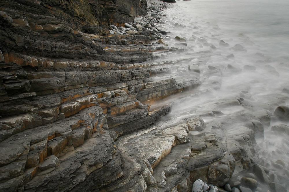 Rock details. Ponta Atalaia, North of Arrifana beach. Southwest Alentejo and Vicentine Coast Natural Park, Portugal.