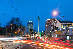 Night cityscape view of Berlin with Television Tower in Mitte , Berlin, Germany