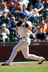 May 30, 2010; San Francisco, CA, USA;  San Francisco Giants catcher Eli Whiteside (22) at bat against the Arizona Diamondbacks during the tenth inning at AT&T Park.  San Francisco defeated Arizona 6-5 in 10 innings.