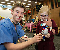 18/01/2018 Roisin Silke Corandulla NS  at the Teddy Bear Hospital at NUI Galway with 3rd year Medical Student David O'Sullivan from Galway. Students get used to dealing with Kids and Kids get a Hospital experience with a difference. Photo:Andrew Downes, XPOSURE