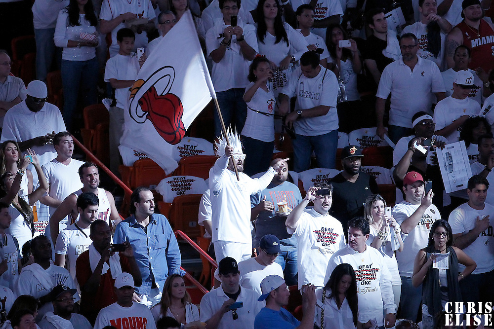 17 June 2012: Fans are seen during the Miami Heat 91-85 victory over the Oklahoma City Thunder, in Game 3 of the 2012 NBA Finals, at the AmericanAirlinesArena, Miami, Florida, USA.