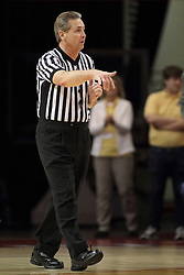 29 November 2014: Count the basket says referee Terry Davis during an NCAA men's basketball game between the Youngstown State Penguins and the Illinois State Redbirds  in Redbird Arena, Normal IL.