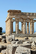 Temple E or Temple of Hera, built 460-450 BC, on the East Hill of the ancient ruined Greek city of Selinunte, Sicily, Italy. The peristyle consists of 6 x 15 Doric columns with several staircases and traces of stucco and friezes. It was rebuilt 1956-59. In the foreground are the ruins of Temple F, built 550-540 BC. It originally had a 6 x 14 column peristyle with unique painted stone screens between the columns, and an internal portico. Selinunte was founded in 628 BC and was an important Greek colony, home to up to 100,000 people at its peak and abandoned in 250 BC. The city consists of an acropolis housing 2 main streets and 5 temples, 3 other hills with housing and temples and 2 necropoleis. Picture by Manuel Cohen