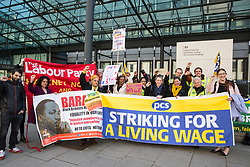 London, UK. 10th April 2019. Rebecca Long-Bailey, Shadow Secretary of State for Business Energy & Industrial Strategy, and Laura Pidcock, Shadow Minister for Business, Energy and Industrial Strategy, join outsourced workers belonging to the Public & Commercial Services (PCS) union standing on a picket line outside their place of work at the Government Department for Business, Energy and Industrial Strategy (BEIS) during strike action to demand a real living wage of £10.55 per hour (the Living Wage Foundation's London Living Wage) and terms and conditions comparable with civil servants who work in the same department.