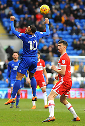 Kenneth Zohore of Cardiff City heads the highball - Mandatory by-line: Nizaam Jones/JMP - 17/02/2018 -  FOOTBALL - Cardiff City Stadium - Cardiff, Wales -  Cardiff City v Middlesbrough - Sky Bet Championship