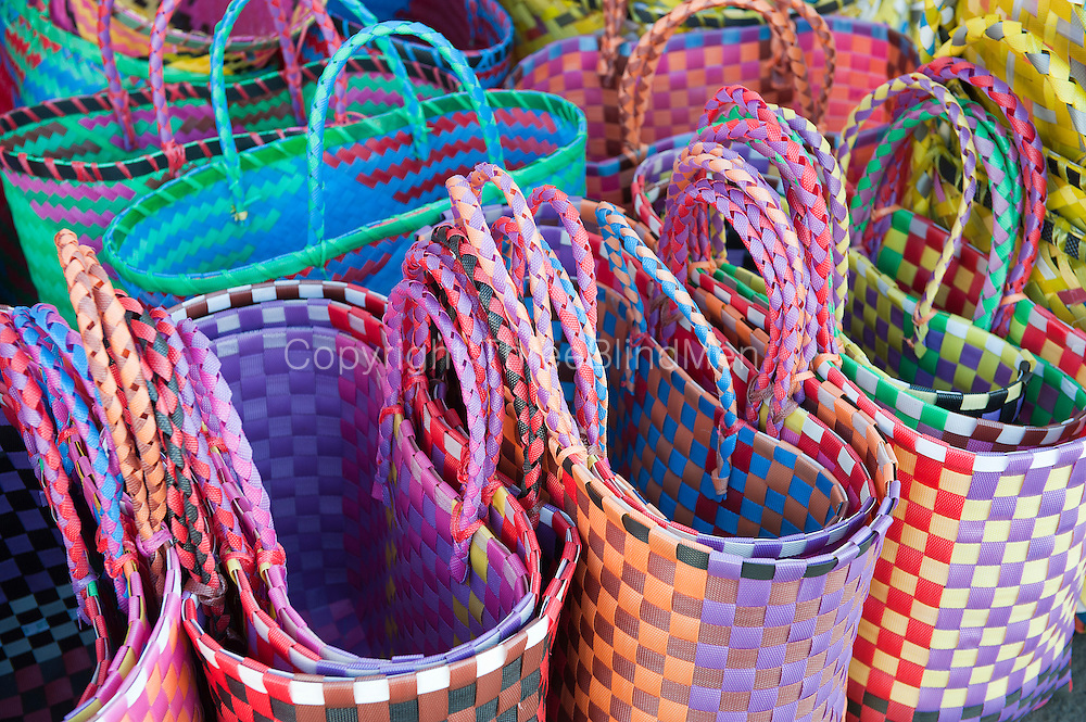 Woven baskets for sale at the market. Mahebourg.