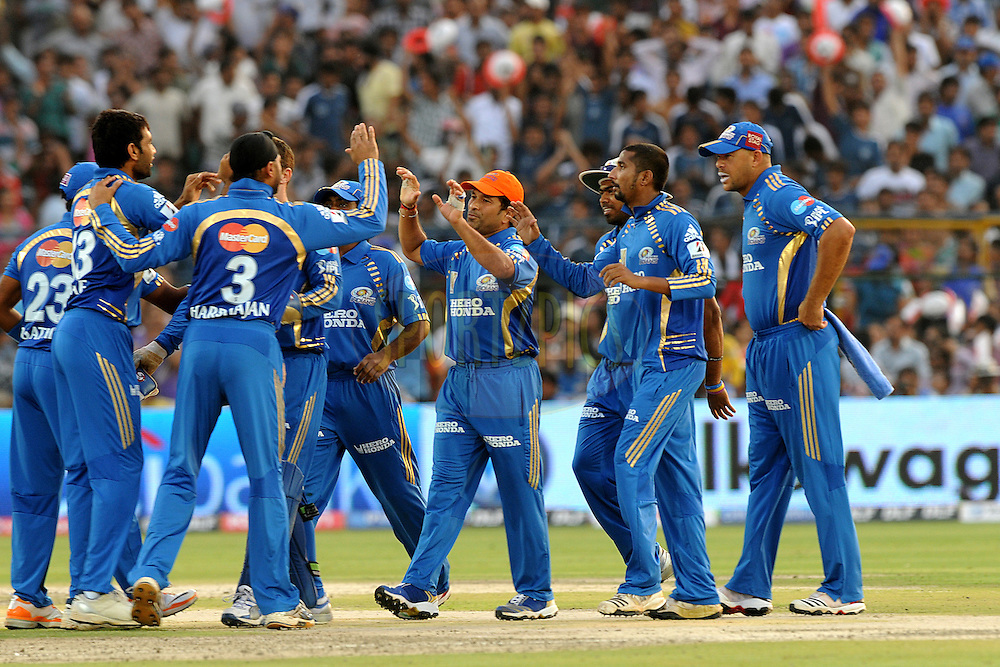 Sachin Tendulkar captain of Mumbai Indians celebrate a wicket  during match 34 of the Indian Premier League ( IPL ) Season 4 between the Rajasthan Royals and the Mumbai Indians held at the Sawai Mansingh Stadium, Jaipur, Rajasthan, India on the 29th April 2011..Photo by Pal Pillai/BCCI/SPORTZPICS.
