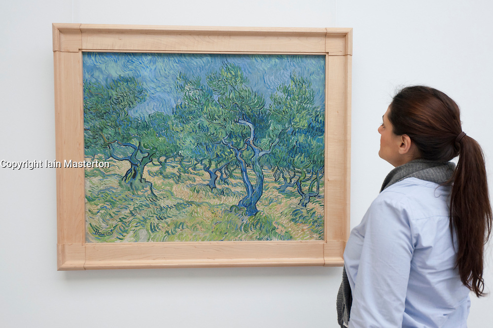 Woman looking at painting Olive grove by Vincent van Gogh at Kroller-Muller Museum in The Netherlands
