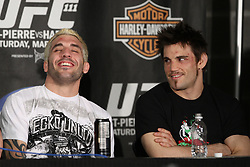 Mar 27, 2010; Newark, NJ, USA; Kurt Pelligrino and Jon Fitch speak at the UFC 111 post-fight press conference at the Prudential Center in Newark, NJ.