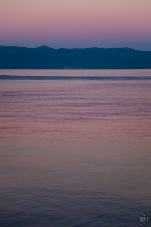 """""""Sunset at Lake Tahoe 7"""" - This peaceful sunset was photographed from the West shore of Lake Tahoe, California."""