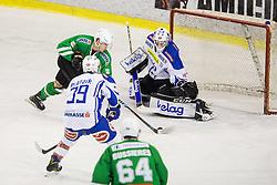 Reyn Nikita (HDD Olimpija), Rene Swette (EC VSV) during ice-hockey match between HDD Olimpija Ljubljana and EC VSV in EBEL League 2016/17, on February 19, 2017 in Hala Tivoli, Ljubljana, Slovenia. Photo by Vid Ponikvar / Sportida