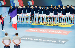 Players of France listening to the National Anthem during handball match between National teams of Croatia and France on Day 7 in Main Round of Men's EHF EURO 2018, on January 24, 2018 in Arena Zagreb, Zagreb, Croatia.  Photo by Vid Ponikvar / Sportida