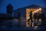 MANSON, IA - NOVEMBER 18: Brad Moline power washes a brooding barn after moving birds out while preparing for a new set Wednesday, Nov. 18, 2015, at Moline Farms in Manson, Iowa. Scott Morgan for The New York Times