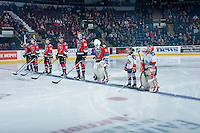 KELOWNA, CANADA - NOVEMBER 5: Tomas Soustal (far left) Kole Lind #16, Jake Kryski #14, Devante Stephens #21, Braydyn Chizen #22 and Michael Herringer #30 of the Kelowna Rockets line up with the Pepsi Save ON Foods players of the game against the Medicine Hat Tigers on November 5, 2016 at Prospera Place in Kelowna, British Columbia, Canada.  (Photo by Marissa Baecker/Shoot the Breeze)  *** Local Caption ***