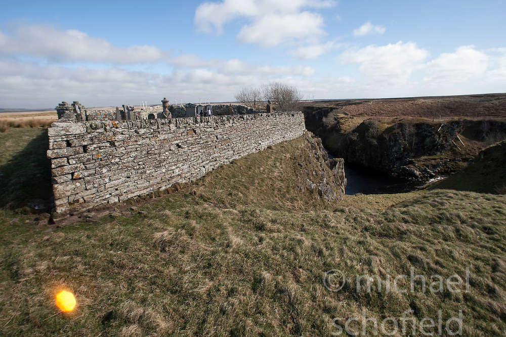Dirliot Cemetery with the Devils Pool to the right. Historian Ashley Cowie at the 'The Devil's Gold' in Dirlot, Caithness. He is doing a seven part series for The Scottish Sun on Scotland's treasure hunts at the end of April..©Michael Schofield.