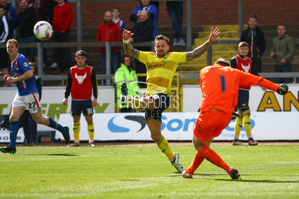 Carlisle United Goalkeeper Mark Gillespie clears the attack during the Sky Bet League 2 match between Carlisle United and Oxford United at Brunton Park, Carlisle, England on 30 April 2016. Photo by Craig McAllister.